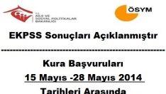 EKPSS Kura Başvuruları 15-28 Mayıs 2014 Tarihleri Arasında