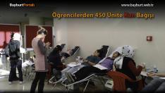 Öğrencilerden 450 Ünite Kan Bağışı
