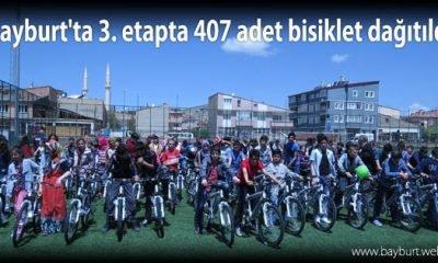 Bayburt'ta 3. etapta 407 adet bisiklet dağıtıldı