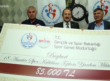 Amatör spor kulüplerine 85 bin TL destek